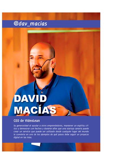 Portada del capítulo de David Macías en el libro Emprendedores de Canarias