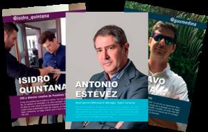 Tres portadas de capítulos del libro Emprendedores de Canarias